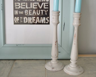 CANDLESTICKS Upcycled Shabby Light Grey Distressed Candlesticks