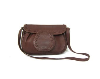 Small Brown Leather Purse 1970s Saddle Bag Pouch Vintage Simple Boho Bag Bohemian Hippie Chic Festival Concert Purse