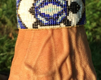 Blue and Gold, Turtle Totem, Native American, Loom Beaded, Handmade Leather Tie Closure Cuff Bracelet