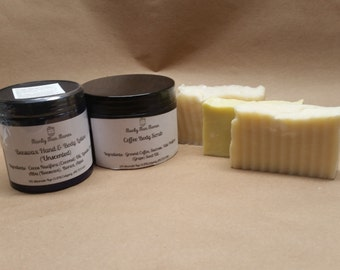 Shower Combination / Sugar Scrub / Coffee Scrub / Homemade Soap / Beeswax Lotion / Peppermint / Patchouli / Woody Scent