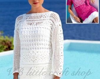 Lady's blouse, summer top crochet pattern. Instant PDF download!