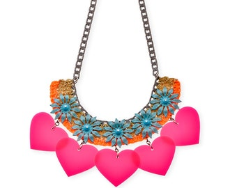 Pink Hearts bold statement bib Necklace art crocheted colorful Jewelry, Big Bold Necklace for her