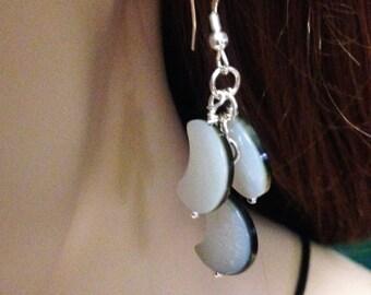 Moon earrings, Shell cluster earrings, Sterling Silver shell earrings, Black Lipped Shell Crescent Moon Earrings, Ready to ship