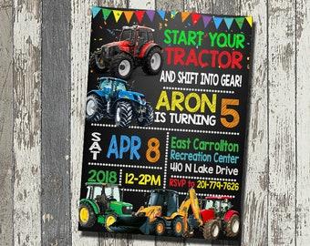 Farm Birthday Invitation, Tractor Birthday Party, Farm Tractor Birthday Invitation, Personalized, Digital File