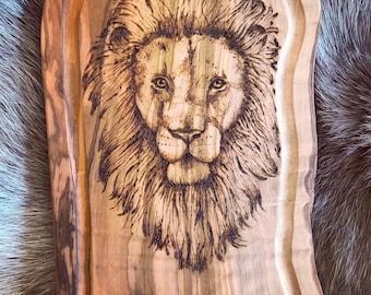 Pyrography wood burning lion on olive wood serving board hand drawn animal
