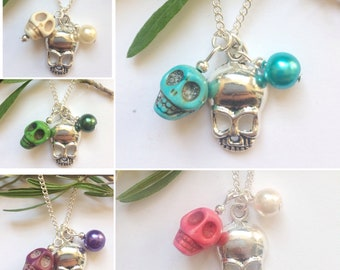 Skull necklace, howlite skull necklace, charm necklace