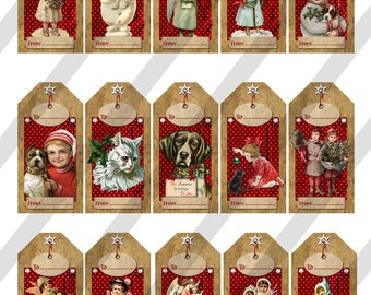 Christmas Gift  Tags, Digital Collage Sheet, Holiday Tags (Sheet no. O262) Instant Download