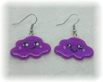 Earrings - Kawaii - shiny purple clouds