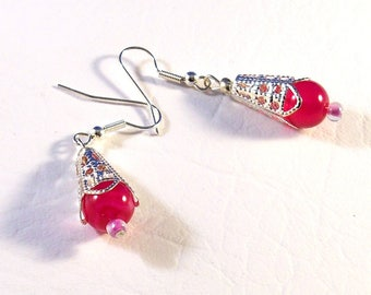 Red And Silver Renaissance Earrings