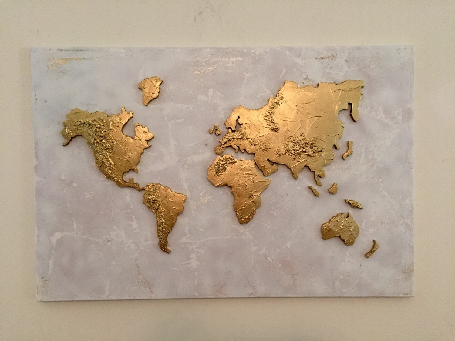 Gold leaf map original gold leaf map of the world gold leaf large original world map painting world map map art globe painting world map canvas painting 3d gumiabroncs Gallery