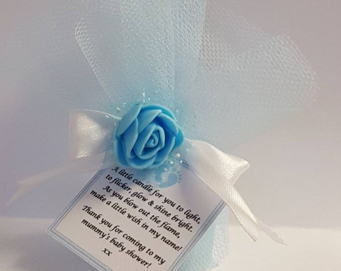 Scented votive baby shower gender reveal  candle favours with poem tag Wedding Bridal shower