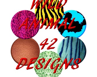 Wild Designs - 1 inch round diy instant digital download .jpg .pdf - 300 DPI -  Cow Snake Zebra - Print and use them to create great crafts
