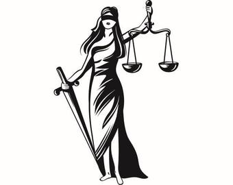 Scales Of Justice #2 Femida Lawyer Attorney Law Balance Lady Cop Police Judge Court System .SVG .EPS .PNG Clipart Vector Cricut Cut Cutting