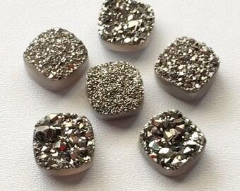 Dark Silver Druzy,Titanium Dark Silver Druzy, Matched Pairs, Cushion Druzy, Druzy Jewelry, Silver Druzy Cabochon, Druzy Bead, 2