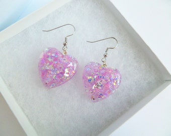 Heart Shaped Iridescent Pair Of Resin Earrings Purple Lilac Kawaii Kitsch Pastel Candy Rave Festival Summer Charm Carnival Kitsch Playful