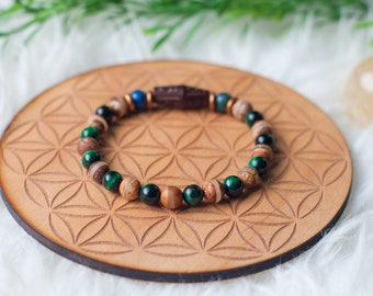 Men's multicolor Tiger's Eye beaded bracelet with Azurite and wood accents