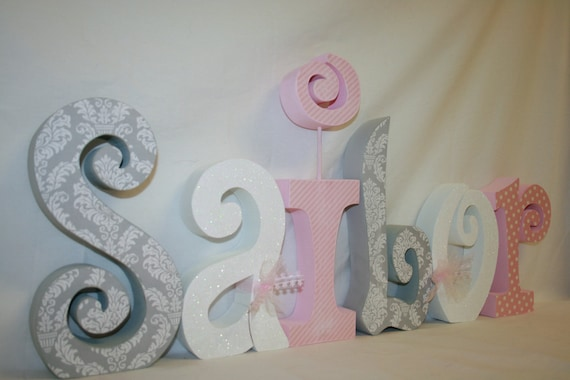 Nursery Letters Baby Girl Wooden Letters 6 Letter Set Pink