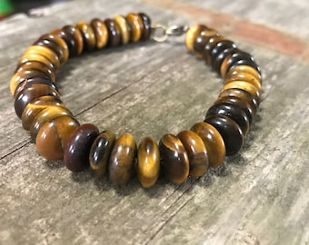 Tiger's Eye gemstone bracelet with lobster claw clasp