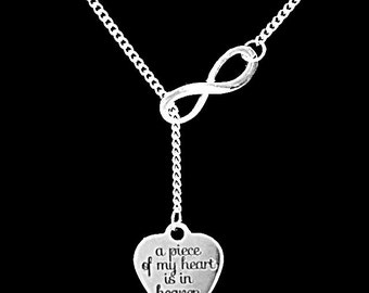 Angel Necklace, A Piece Of My Heart Is In Heaven Necklace, Heart Remembrance Memorial Angel, Sympathy Gift,  Infinity Lariat Necklace