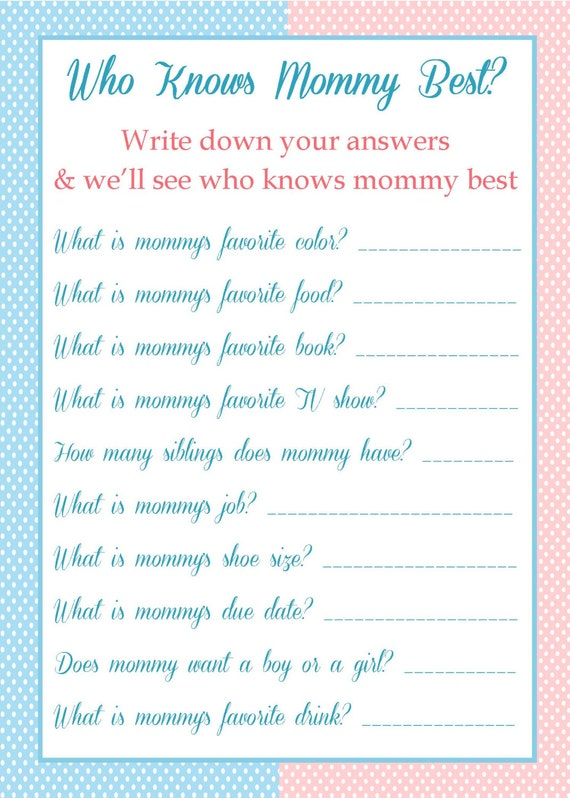 Items Similar To Baby Shower Game   Who Knows Mommy Best? On Etsy