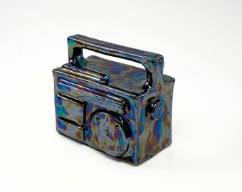 little ceramic boombox, ghettoblaster, miniature, ceramic art, hiphop-style, ceramic sculpture, colorful luster