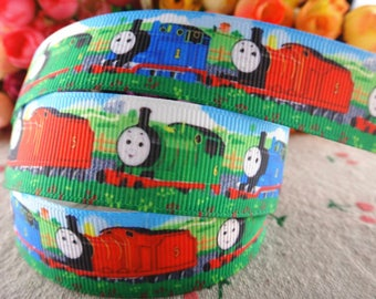 """Train Grosgrain 7/8"""" Printed Ribbon"""