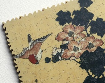 Hand-cut wooden jigsaw puzzle. HIBISCUS & SPARROW BIRDS. Hokusai. Japanese woodblock print. Wood, collectible. Bella Puzzles.