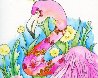 Flamingo Print, Tropical Art, Watercolor Painting, Watercolor Print, Paradise Art, Carribean Art, Nursery Art, Bathroom Decor, Nursery Print