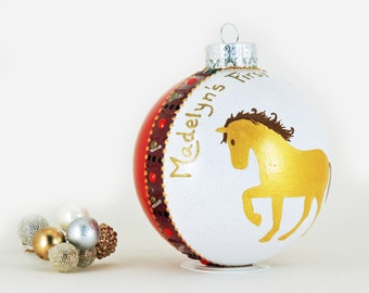 Horse ornament - Horse lover gift - New baby gift - Personalized hand painted glass ornament