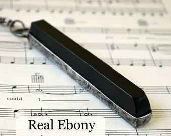 Music Gift, Music Jewelry, Real Ebony Piano Key, Music Teacher Gift, Long Necklace, Piano Gift, Music Necklace (2295)