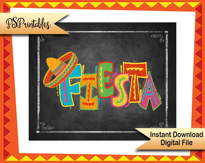 Printable Fiesta sign, Fiesta Birthday Sign, Wedding Fiesta, Fiesta Party Decor, Cinco De Mayo Decoration, Taco Party sign, printable fiesta