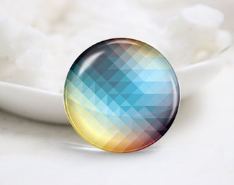Handmade Round Colourful Photo Glass Cabochons (P3576)
