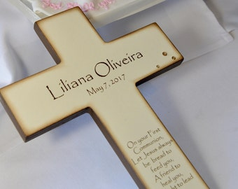 Personalized Christian Cross for First Holy Communion -  Catholic Gift for Goddaughter or Godson