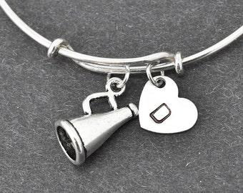 Speaker Bangle, Sterling Silver Bangle, Speaker Bracelet, Bridesmaid Gift, Personalized Bracelet, Bridesmaid Gift, Initial Bracelet, Charm