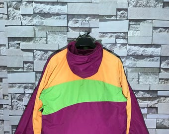 Vintage Viaggio In Egitto Multicolour Hooded Windbreaker Jacket Size Large L / Colour Block Windbreaker Jacket / Nylon Windbreaker Jacket