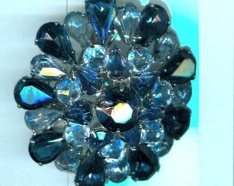 Vintage Estate Sapphire Domed Brooch Pin