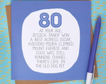 Funny 80th Card Etsy
