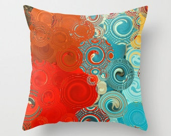 THROW PILLOW - Red, Blue, Yellow Swirls, colorful scatter cushion, home decor, indoor outdoor pillow covers, cushion covers