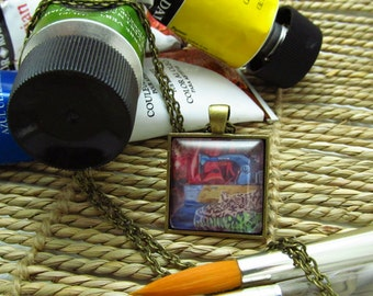 Pendant Necklace - Eighties Sentiment - By Mixed Media Artist Malinda Prudhomme