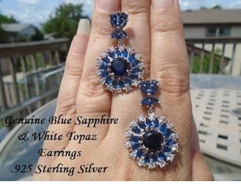Blue Sapphire & White Topaz Earrings