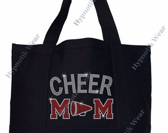 """Rhinestone Sturdy Tote Bag with """" Cheer Mom with Megaphone """" in Various Color, Bling"""