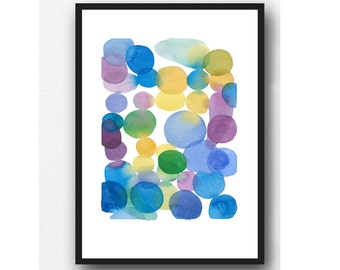 Abstract Watercolor Painting, colored dots, Ultra Violet watercolor print, Art print, wall decor, colorful painting, modern art