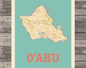 Island of Oahu, Hawaii Map 18 x 24 Print Wall Art