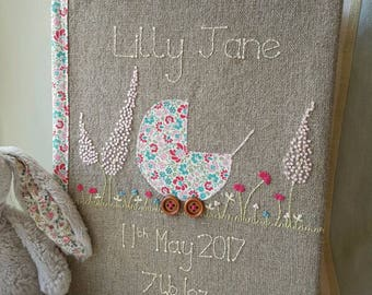 Personalised new baby photo album and keep sake book, pink and green hand embroidered baby book, new baby gift, christening gift