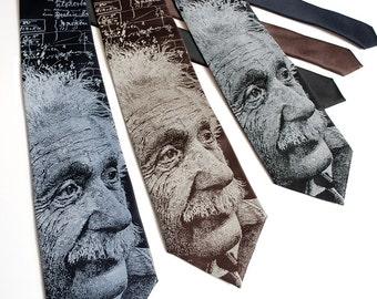 Albert Einstein Necktie - Science Tie - Geek Gift - Math Tie - Physics Gift - Math Necktie