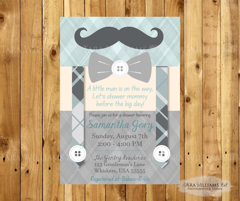 Mustache Baby Shower Invitation Bowtie-Little