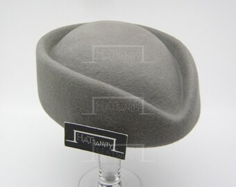 VINTAGE x ELEGANT Wool Felt Pillbox Hat - Grey