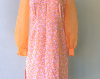 1960s Bright Psychedelic Dress with Orange SHEER Sleeves // Sz Lg