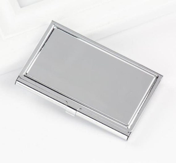 Silver business card case metal business card holder metal card silver business card case metal business card holder metal card case blank card holder frame holds a standard sized card from momojewelryshop on etsy colourmoves