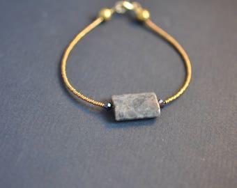 miyuki, labradorite and swarovski bracelet